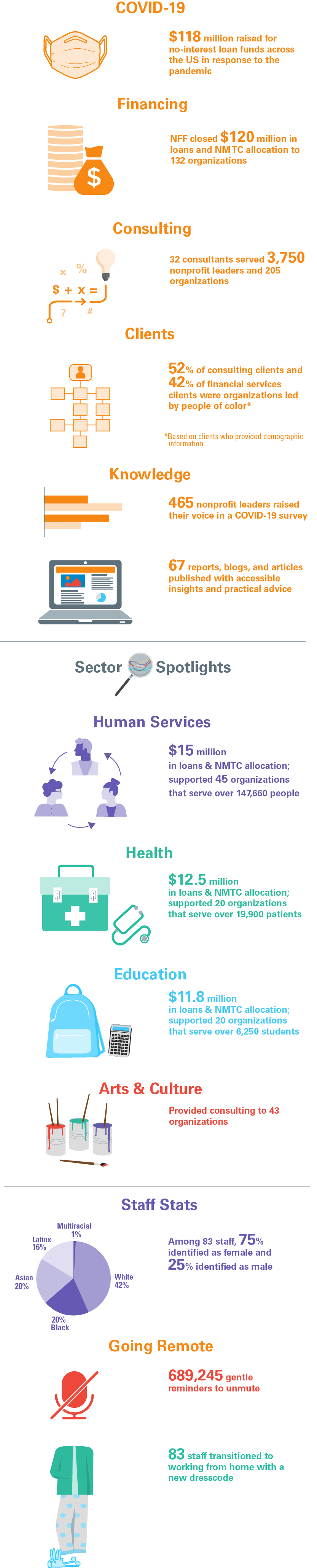 Infographic featuring NFF's work in 2020 related to COVID-19, finance, consulting, sectors, and knowledge.
