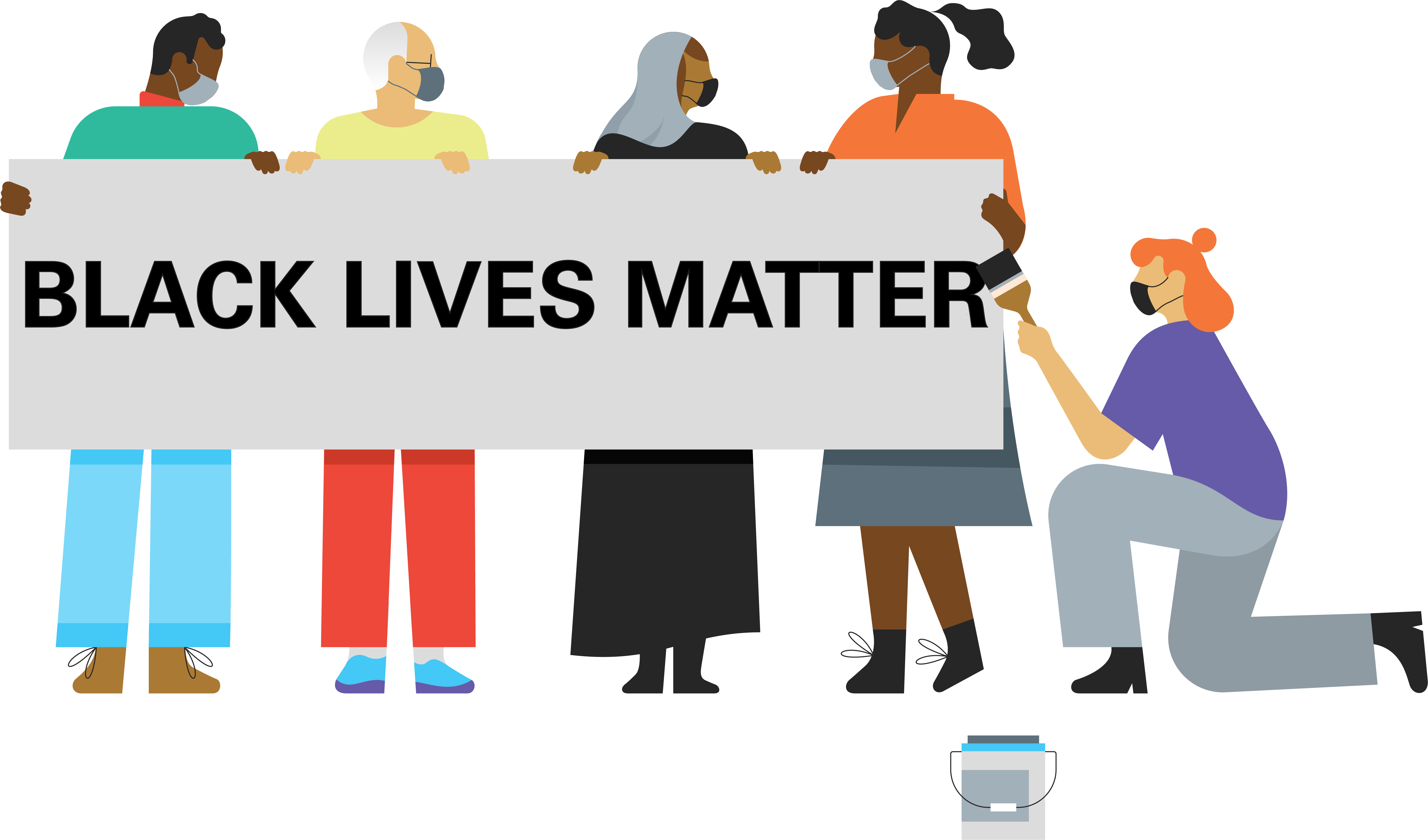 Illustration with a group of five people holding a large banner that reads Black Lives Matter. One person is kneeling with a paint brush on the right of the sign.