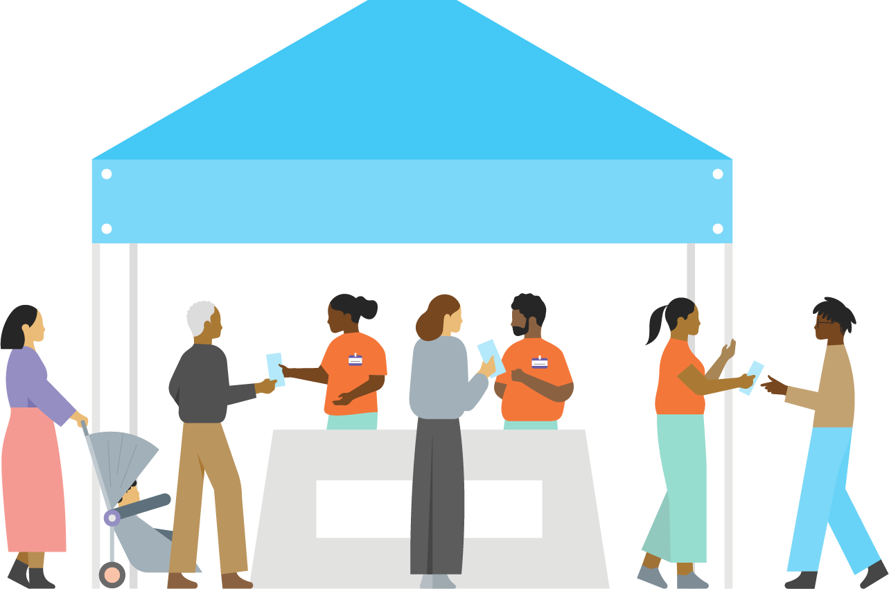 Illustration of three people in orange shirts handing flyers to people beneath a blue pavilion.