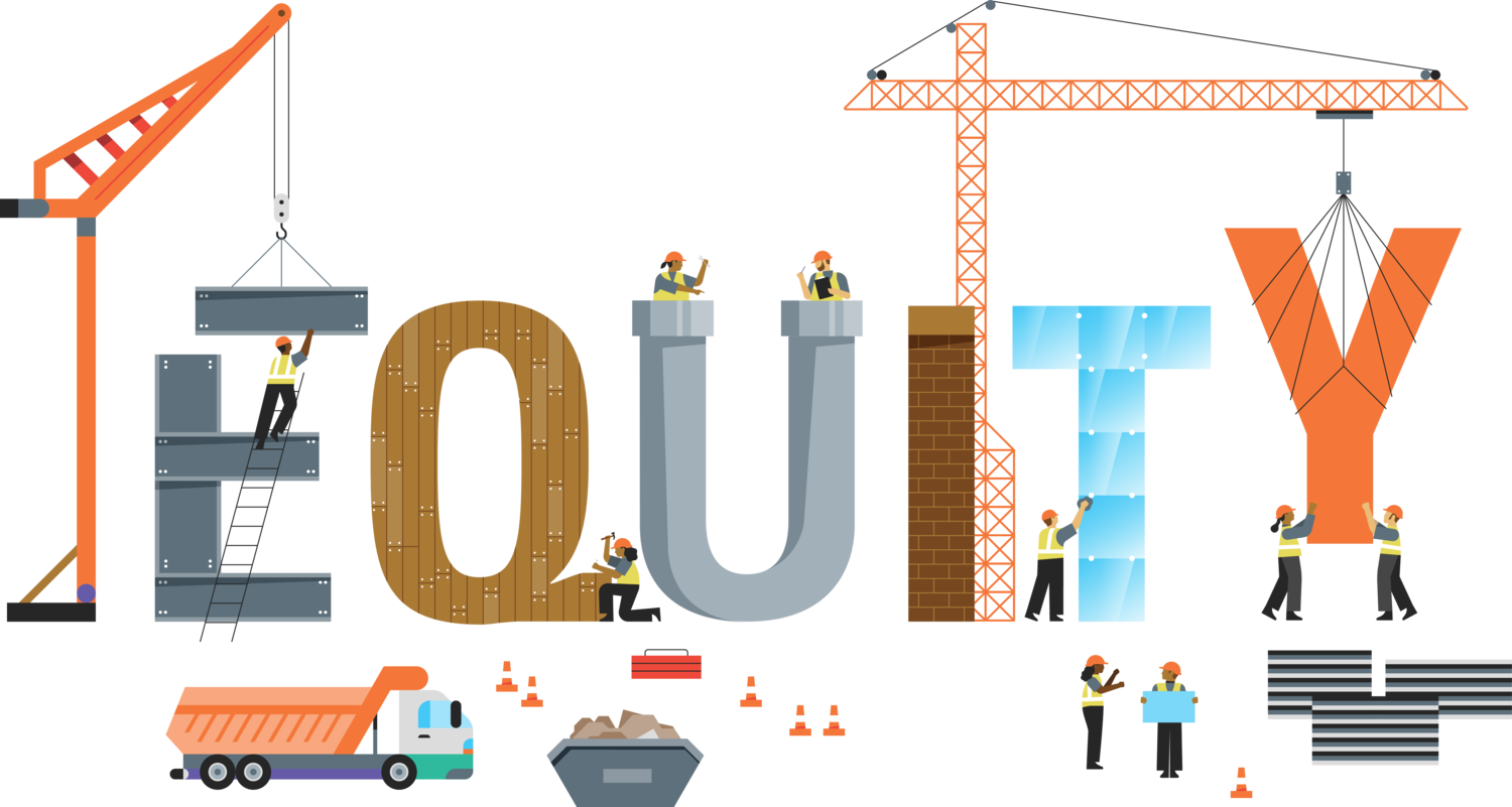 """Illustration showing the word """"equity"""" being constructed"""