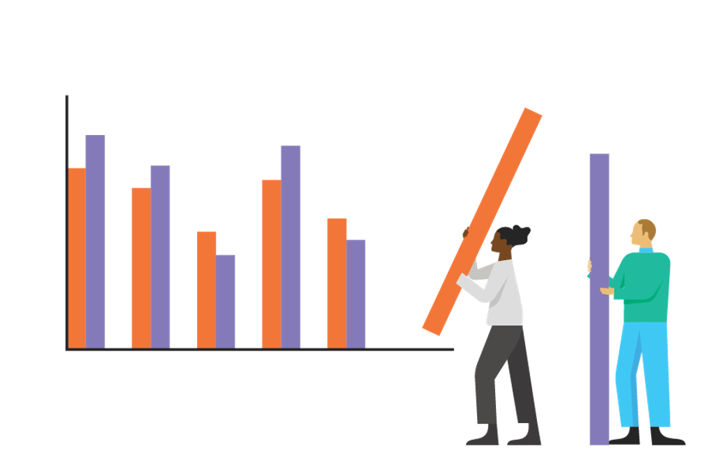 Illustration of two people placing ten-foot purple and orange bars into a life-sized bar chart